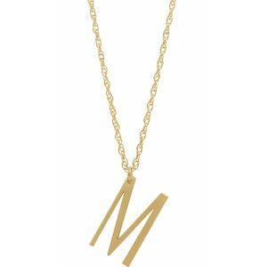 "14K Yellow Block Initial M 16-18"" Necklace with Brush Finish"