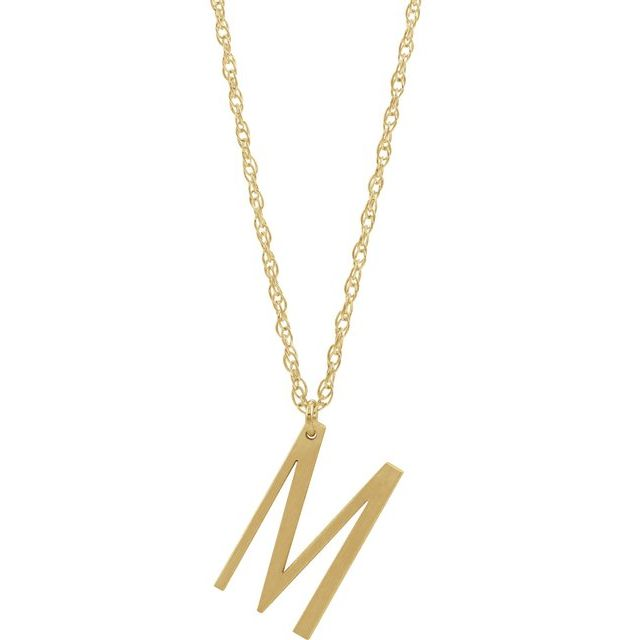 14K Yellow Gold-Plated Sterling Silver Block Initial M 16-18