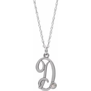 "Sterling Silver .02 CT Diamond Script Initial D 16-18"" Necklace"