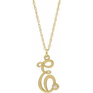 "14K Yellow .02 CT Diamond Script Initial E 16-18"" Necklace"