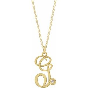 "14K Yellow Gold-Plated .02 CT Diamond Script Initial G 16-18"" Necklace"