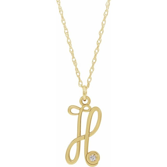 14K Yellow Gold-Plated .02 CT Diamond Script Initial H 16-18