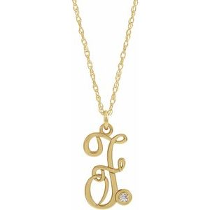 "14K Yellow Gold-Plated .02 CT Diamond Script Initial F 16-18"" Necklace"