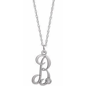 "Sterling Silver .02 CT Diamond Script Initial B 16-18"" Necklace"