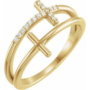 14K Yellow .06 CTW Diamond Sideways Cross Ring