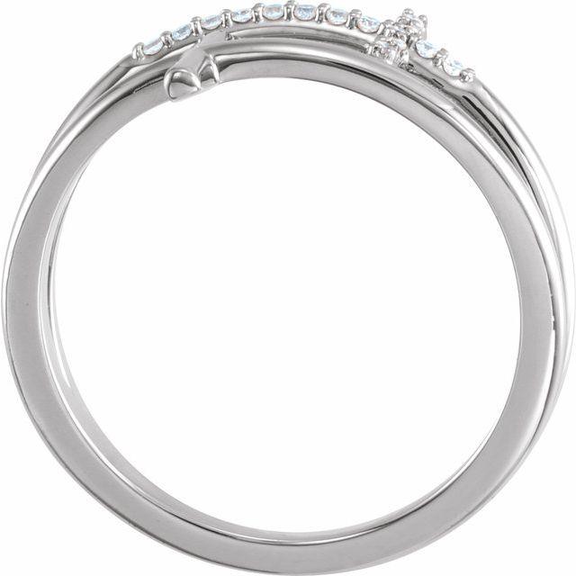 14K White .06 CTW Diamond Sideways Cross Ring