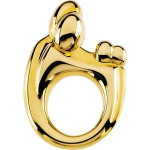 14K Yellow 20.25x14 mm Mother and Child® Slide Pendant