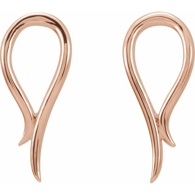 14K Rose Freeform Earrings