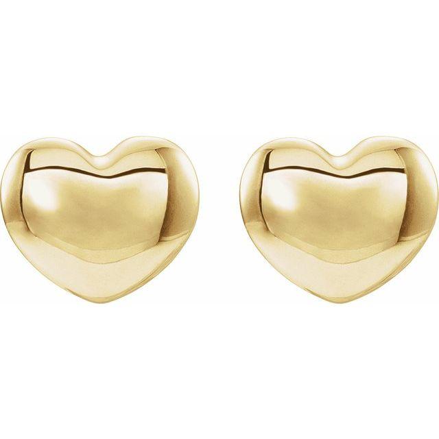 14K Yellow 5.9x5.4 mm Youth Puffed Heart Earrings