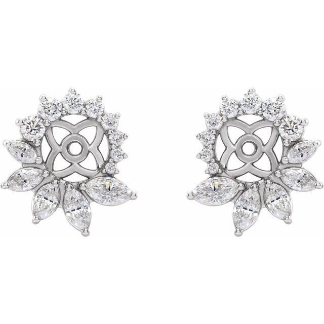 14K White 7/8 CTW Diamond Earring Jackets with 6 mm ID