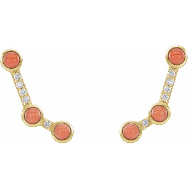 14K Yellow Pink Coral & .01 CTW Diamond Scattered Cabochon Ear Climbers