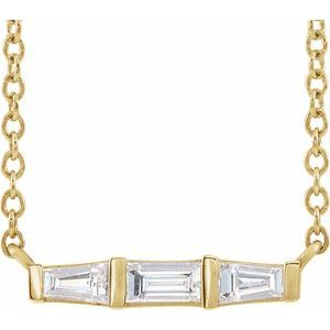 "14K Yellow 1/8 CTW Diamond Bar 16"" Necklace"