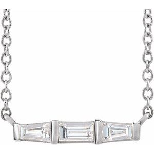 "14K White 1/8 CTW Diamond Bar 16"" Necklace"