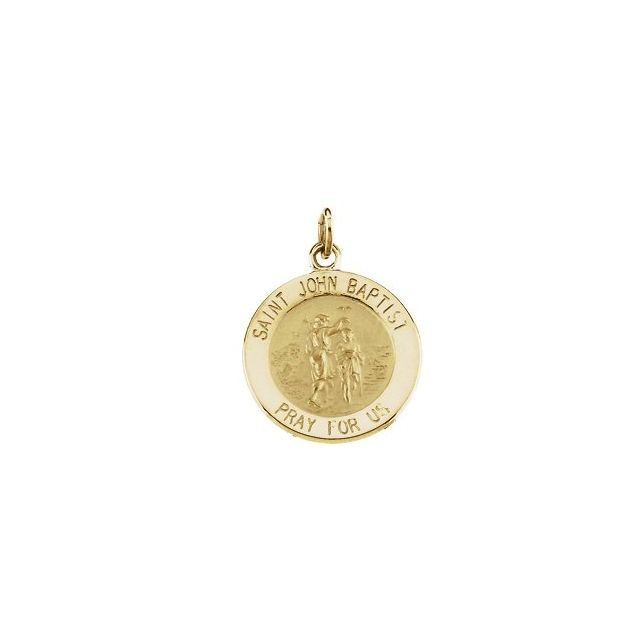 14K Yellow 15 mm Round St. John the Baptist Medal