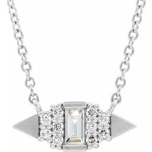 "14K White 1/6 CTW Diamond Semi-Set Geometric 18"" Necklace"