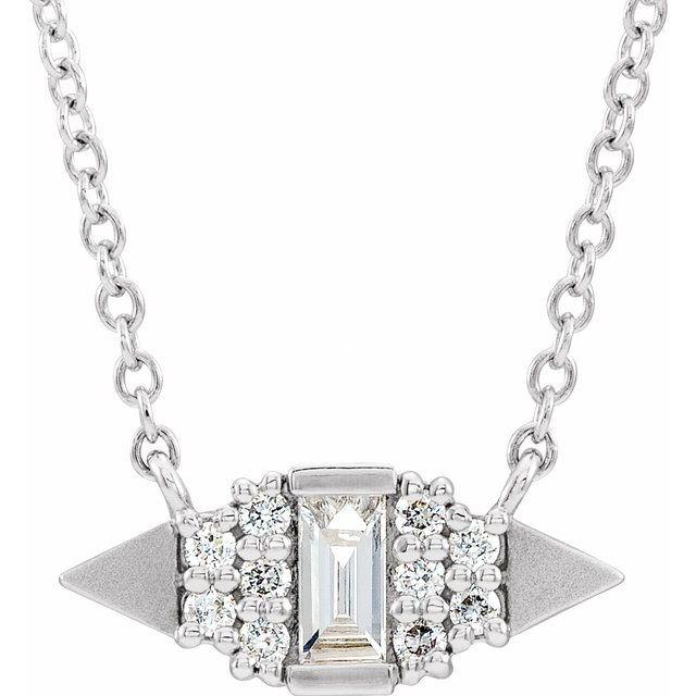 14K White 1/6 CTW Diamond Semi-Set Geometric 18