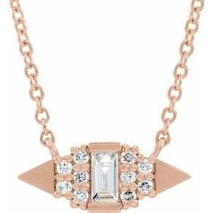"14K Rose 1/6 CTW Diamond Semi-Set Geometric 18"" Necklace"