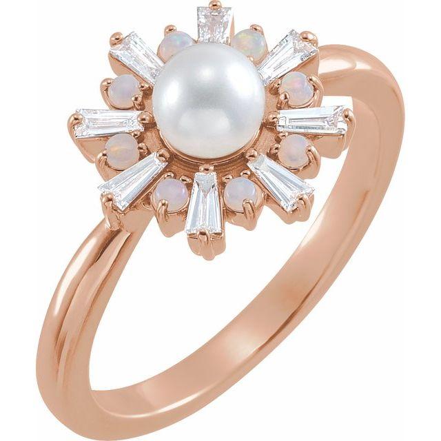 14K Rose  Cultured White Akoya Pearl, White Opal & 1/4 CTW Diamond