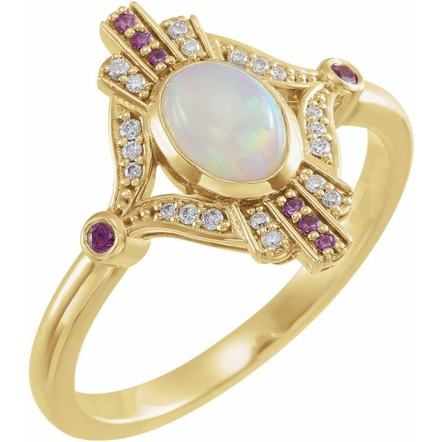 14K Yellow Cabochon Ethiopian Opal, Pink Sapphire & .06 CTW Diamond Ring