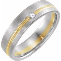 14K White & Yellow .07 CTW Diamond 6 mm Grooved Band Size 7