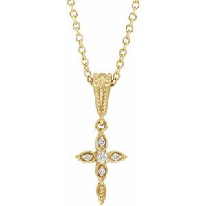 "14K Yellow .03 CTW Diamond Petite Vintage-Inspired 16-18"" Cross Necklace"
