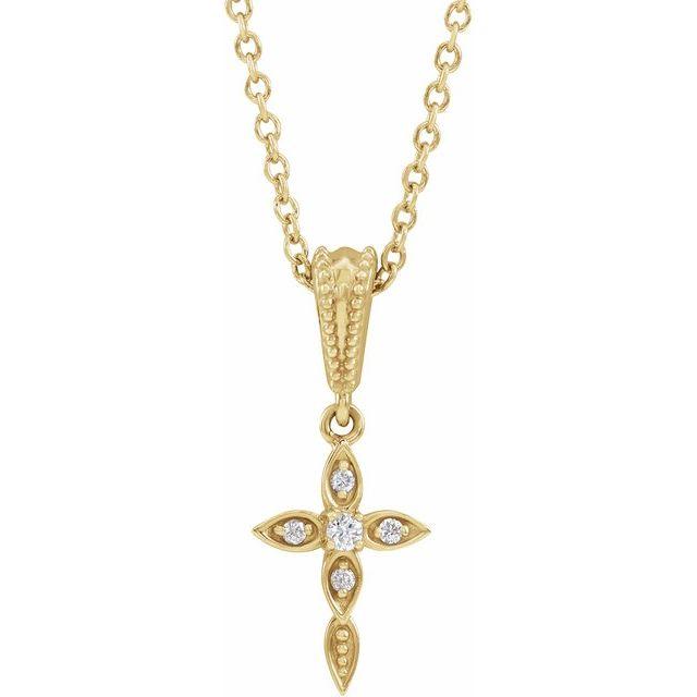 14K Yellow .03 CTW Diamond Petite Vintage-Inspired 16-18