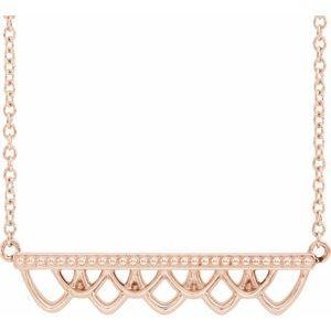 """14K Rose Vintage-Inspired Bar 16"""" Necklace"""