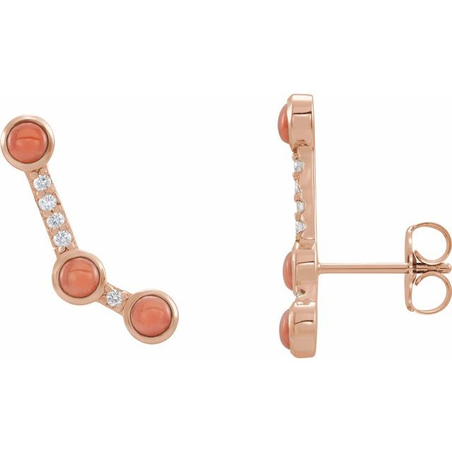 14K Rose Pink Coral & .01 CTW Diamond Scattered Cabochon Ear Climbers