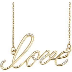 "14K Yellow .08CTW Diamond ""Love"" Design 18"" Necklace"
