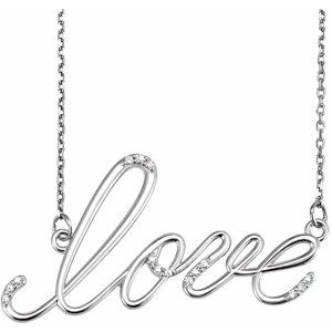 "14K White .08 CTW Diamond ""Love"" Design 18"" Necklace"