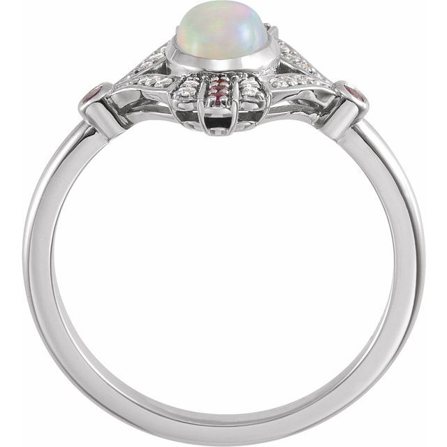 14K White Cabochon Ethiopian Opal, Pink Sapphire & .06 CTW Diamond Ring