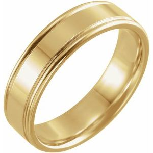 14K Yellow 6 mm Grooved Band Size 10.5