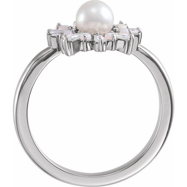 14K White  Cultured White Akoya Pearl, White Opal & 1/4 CTW Diamond