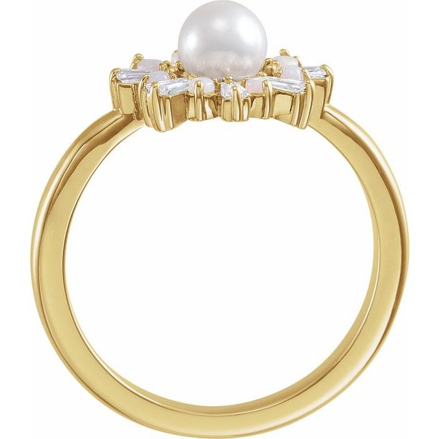 14K Yellow  Cultured White Akoya Pearl, White Opal & 1/4 CTW Diamond