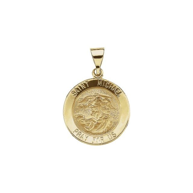 14K Yellow 22x22 mm Round Hollow St. Michael Medal