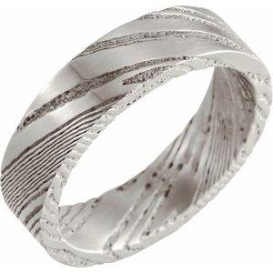 Damascus Steel Patterned Flat Band