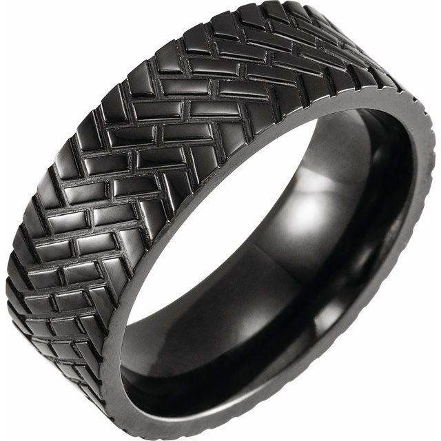 Black Titanium 8mm Band Size 9.5