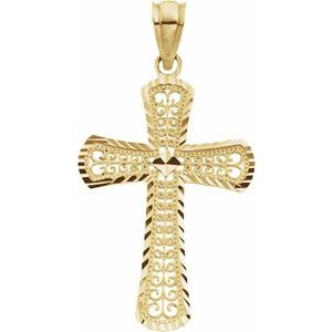 14K Yellow 26.5x18 mm Cross Pendant