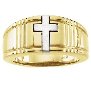 14K Yellow/White 3.5 mm Cross Band Size 10