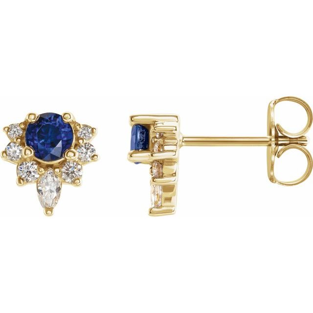 14K Yellow Blue Sapphire & 1/6 CTW Diamond Earrings