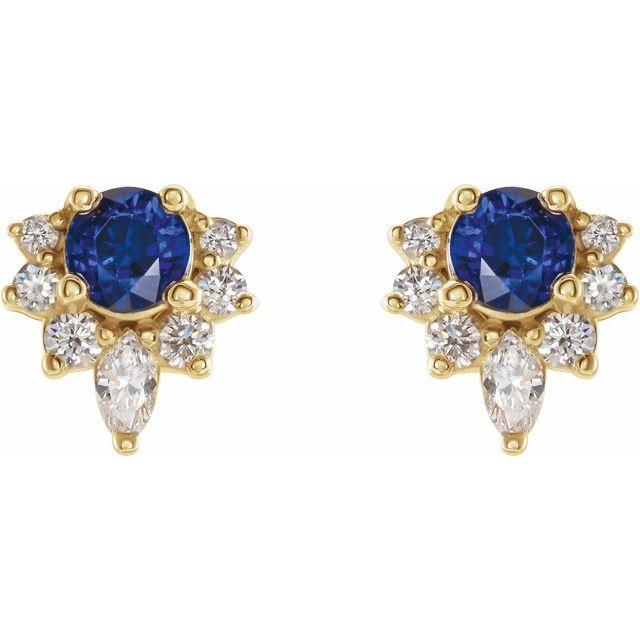 14K Yellow Blue Sapphire & 1/6 CTW Diamond Earrings