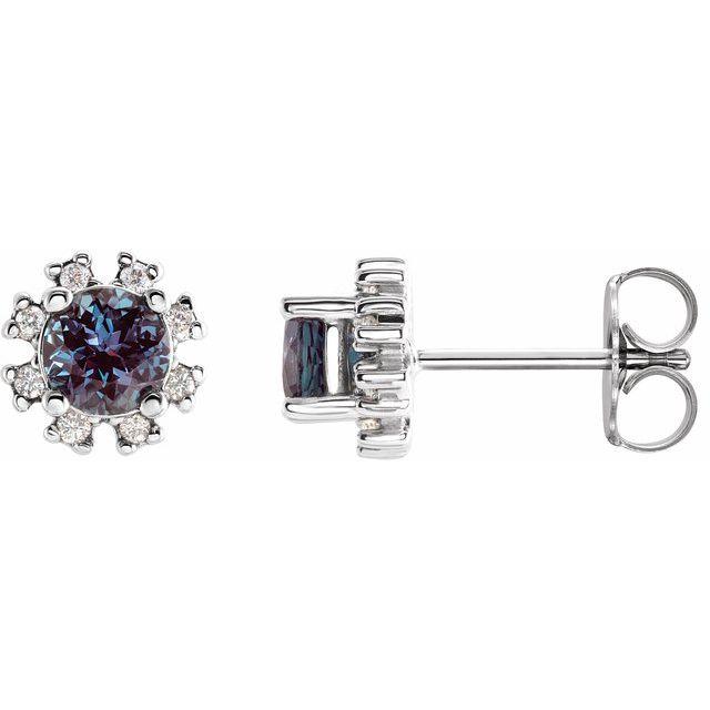 14K White Lab-Grown Alexandrite & .06 CTW Diamond Earrings
