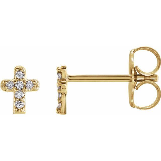 14K Yellow .06 CTW Diamond Youth Cross Earrings