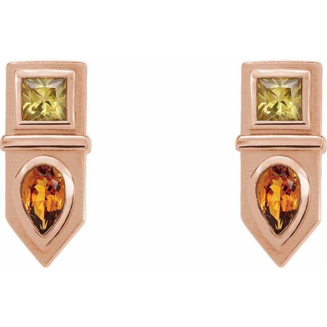 14K Rose Multi-Gemstone Geometric Bar Drop Earrings