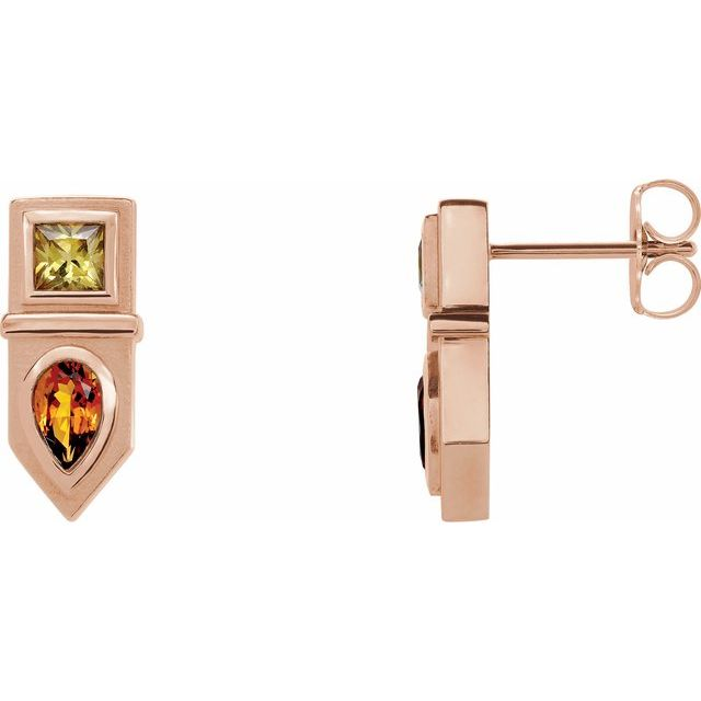 14K Rose Multi-Gemstone Geometric Bar Drop Earrings