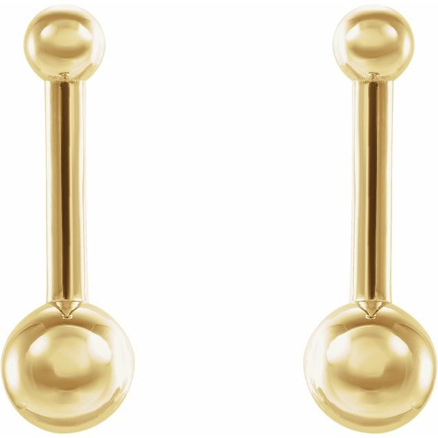 14K Yellow Bar & Ball Earrings
