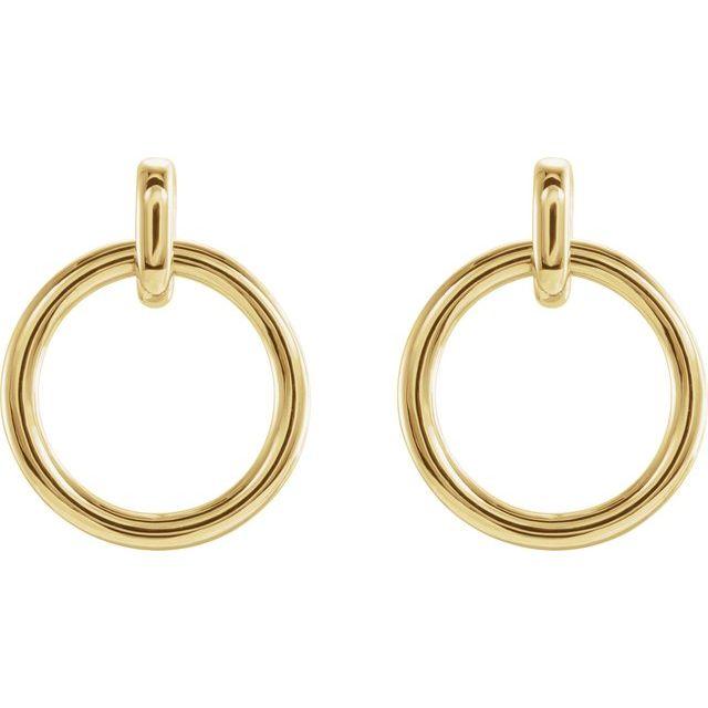 14K Yellow Circle Dangle Earrings