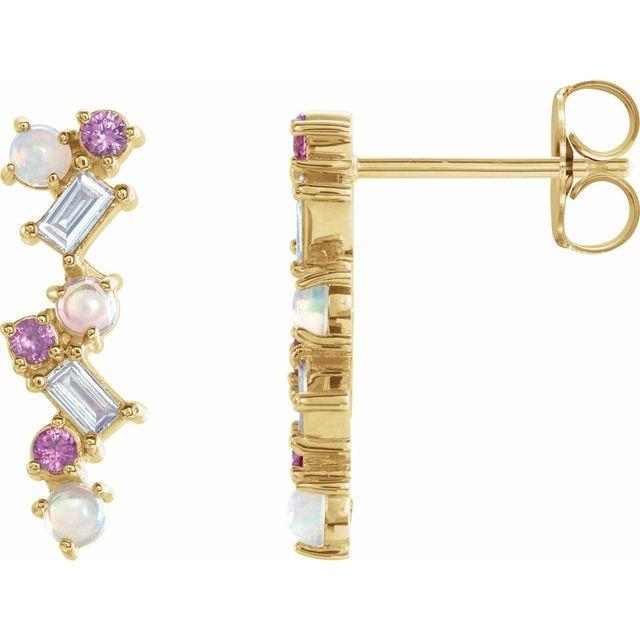 14K Yellow Ethiopian Opal, Pink Sapphire & 1/10 CTW Diamond Scattered Bar Earrings