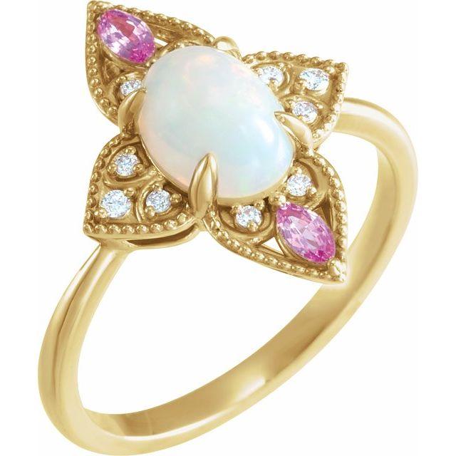 14K Yellow Ethiopian Opal, Pink Sapphire & .05 CTW Diamond Vintage-Inspired Ring