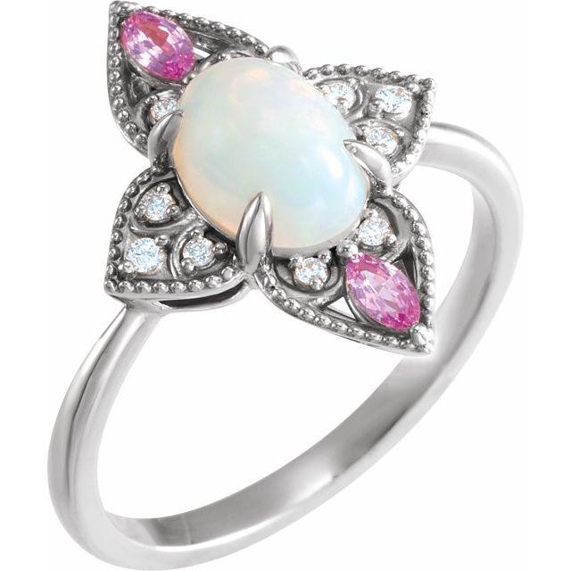 14K White Ethiopian Opal, Pink Sapphire & .05 CTW Diamond Vintage-Inspired Ring